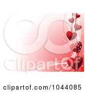 Royalty Free RF Clip Art Illustration Of A Border Of Red Hearts And Ribbons On Gradient Pink