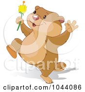 Royalty Free RF Clip Art Illustration Of A Cute Groundhog Running With A Flower by Pushkin