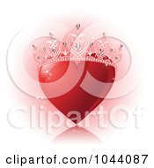Sparkly Red Heart With A Princess Crown