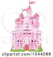 Royalty Free RF Clip Art Illustration Of A Pink Fairy Tale Castle by Pushkin