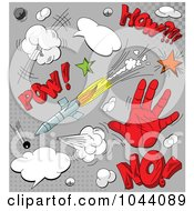 Royalty Free RF Clip Art Illustration Of A Digital Collage Of Comic Icons And Sounds On Gray