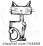 Royalty Free RF Clipart Illustration Of A Black And White Woodcut Styled Sitting Cat by xunantunich