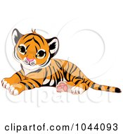 Cartoon of a Cute Tiger Cub Resting and Smiling - Royalty Free ...