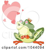 Royalty Free RF Clip Art Illustration Of A Frog Prince With Hearts by Pushkin