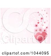 Royalty Free RF Clip Art Illustration Of A Pink Heart And Cherry Blossom Border Over A Pink Floral Background by Pushkin