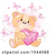 Royalty Free RF Clip Art Illustration Of A Teddy Bear Holding A Pink Heart Surrounded By Butterflies