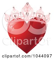 Shiny Red Heart With A Princess Crown