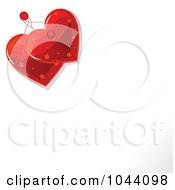 Royalty Free RF Clip Art Illustration Of Two Starry Red Heart Tags Over A White Piece Of Paper