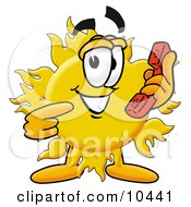 Clipart Picture Of A Sun Mascot Cartoon Character Holding A Telephone by Toons4Biz