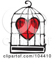 Woodcut Styled Red Heart In A Bird Cage
