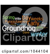 Royalty Free RF Clip Art Illustration Of A Colorful Groundhog Day Word Collage On Black