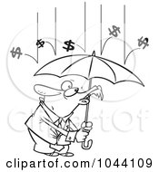 Royalty Free RF Clip Art Illustration Of A Cartoon Black And White Outline Design Of Money Raining Down On A Businessman