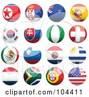 Royalty Free RF Clipart Illustration Of A Digital Collage Of 16 Shiny Soccer World Cup Orbs Part 2