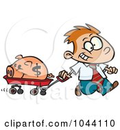 Royalty Free RF Clip Art Illustration Of A Cartoon Rich Boy Pulling His Piggy Bank In A Wagon by toonaday