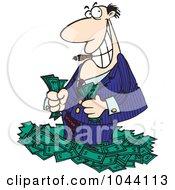 Royalty Free RF Clip Art Illustration Of A Cartoon Rich Businessman Standing In Cash