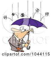 Royalty Free RF Clip Art Illustration Of Cartoon Money Raining Down On A Businessman