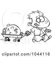 Royalty Free RF Clip Art Illustration Of A Cartoon Black And White Outline Design Of A Rich Boy Pulling His Piggy Bank In A Wagon