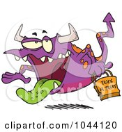 Royalty Free RF Clip Art Illustration Of A Cartoon Trick Or Treating Monster