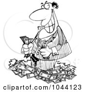 Royalty Free RF Clip Art Illustration Of A Cartoon Black And White Outline Design Of A Rich Businessman Standing In Cash