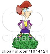 Royalty Free RF Clip Art Illustration Of A Cartoon Rich Businesswoman Standing On Cash