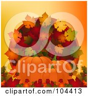 Royalty Free RF Clipart Illustration Of Three Pumpkins With Colorful Autumn Leaves Over Orange by elaineitalia