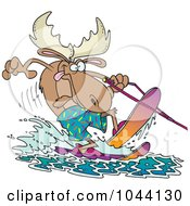 Royalty Free RF Clip Art Illustration Of A Cartoon Waterskiing Moose by toonaday