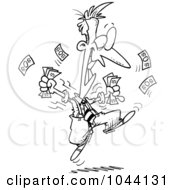 Royalty Free RF Clip Art Illustration Of A Cartoon Black And White Outline Design Of An Excited Businessman Holding Cash