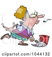 Royalty Free RF Clip Art Illustration Of A Cartoon Woman Whistling While Mopping by toonaday