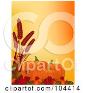 Royalty Free RF Clipart Illustration Of Autumn Pumpkins Leaves And Wheat Over Orange by elaineitalia