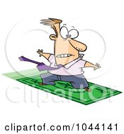Royalty Free RF Clip Art Illustration Of A Cartoon Rich Businessman Surfing On A Dollar Bill by toonaday
