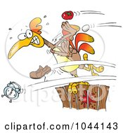 Royalty Free RF Clip Art Illustration Of Cartoon Items Flying At A Rooster On A Fence by toonaday