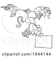 Cartoon Black And White Outline Design Of A Hanging Monkey Holding A Sign