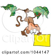Royalty Free RF Clip Art Illustration Of A Cartoon Hanging Monkey Holding A Sign by toonaday