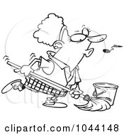 Royalty Free RF Clip Art Illustration Of A Cartoon Black And White Outline Design Of A Woman Whistling While Mopping