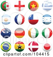 Royalty Free RF Clipart Illustration Of A Digital Collage Of 16 Shiny Soccer World Cup Orbs Part 1 by elaineitalia