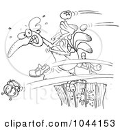 Royalty Free RF Clip Art Illustration Of A Cartoon Black And White Outline Design Of Items Flying At A Rooster On A Fence