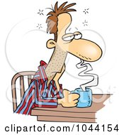 Royalty Free RF Clip Art Illustration Of A Cartoon Sleepy Man Sitting With Coffee by toonaday