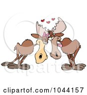 Royalty Free RF Clip Art Illustration Of A Cartoon Moose Pair In Love by toonaday