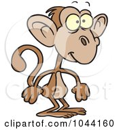 Royalty Free RF Clip Art Illustration Of A Cartoon Standing Monkey by toonaday