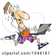 Royalty Free RF Clip Art Illustration Of A Cartoon Mobile Jogger Using A Laptop