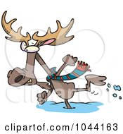 Royalty Free RF Clip Art Illustration Of A Cartoon Moose Running In The Snow by toonaday