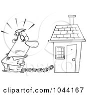 Royalty Free RF Clip Art Illustration Of A Cartoon Black And White Outline Design Of A Man Tied To A House With A Mortgage Chain by toonaday
