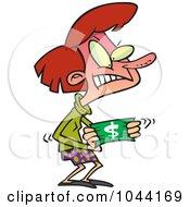 Royalty Free RF Clip Art Illustration Of A Cartoon Woman Stretching A Dollar