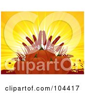 Royalty Free RF Clipart Illustration Of A Group Of Pumpkins And Wheat Against Sun Rays by elaineitalia