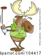 Royalty Free RF Clip Art Illustration Of A Cartoon Golfing Moose by toonaday