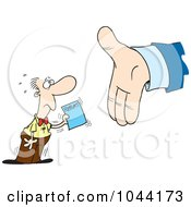 Royalty Free RF Clip Art Illustration Of A Cartoon Employee Handing A Report To A Big Hand