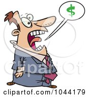 Royalty Free RF Clip Art Illustration Of A Cartoon Businessman Shouting About Money