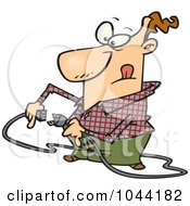 Royalty Free RF Clip Art Illustration Of A Cartoon Man Trying To Plug In A Cable
