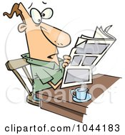Royalty Free RF Clip Art Illustration Of A Cartoon Man Reading The News Over His Morning Coffee