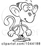 Royalty Free RF Clip Art Illustration Of A Cartoon Black And White Outline Design Of A Standing Monkey by toonaday